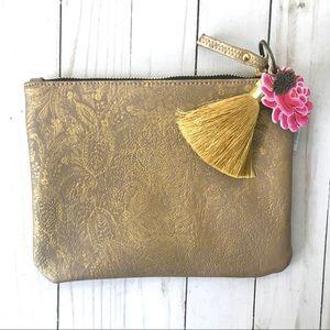 Papaya Paisley Gold Pocket Clutch NWT